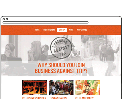 Business Against TTIP Campaign Microsite Design