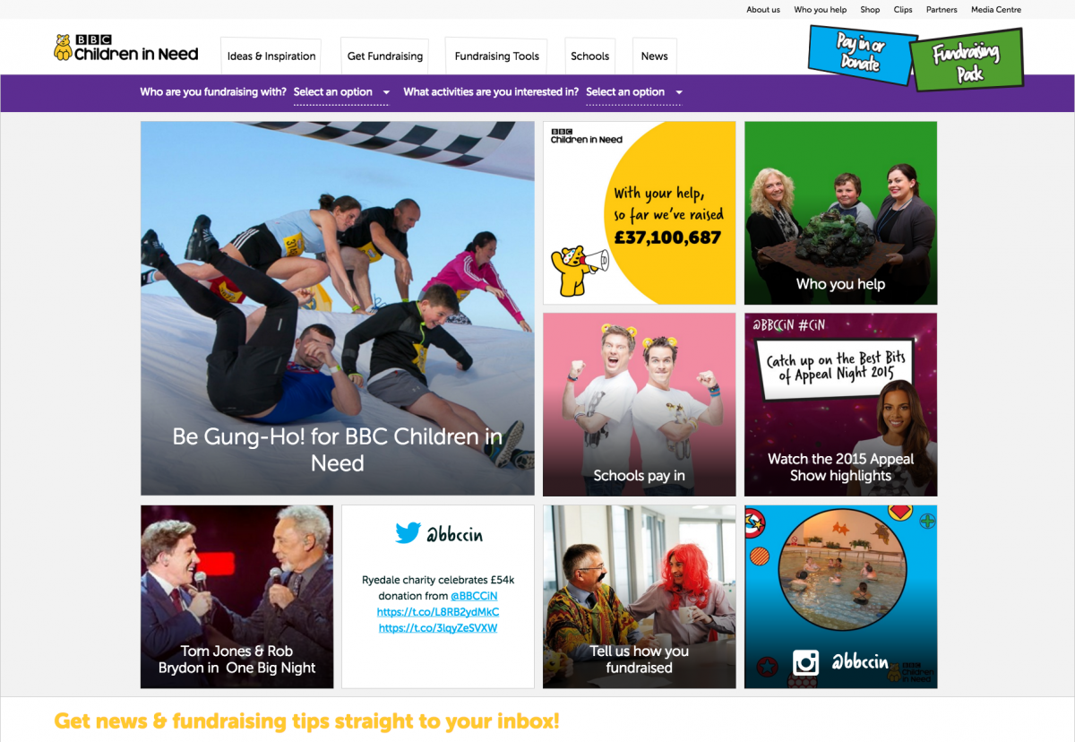Screenshot of Homepage BBC Children in Need