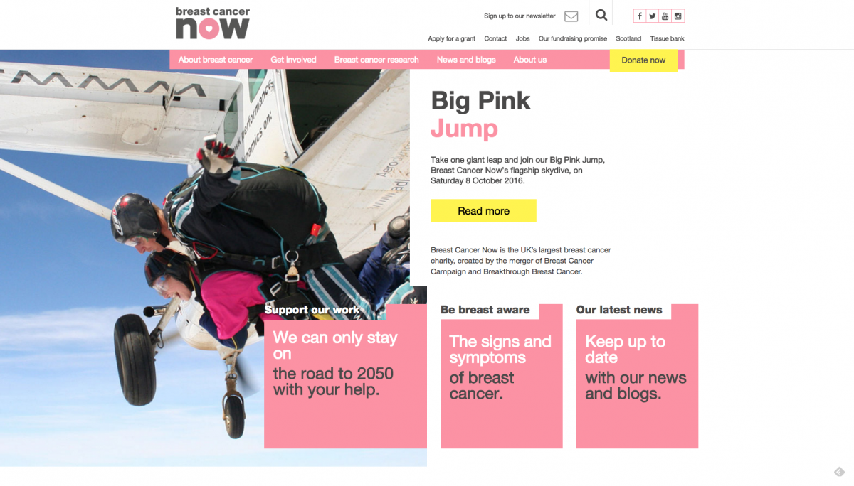 Breast Cancer Now Homepage Screenshot