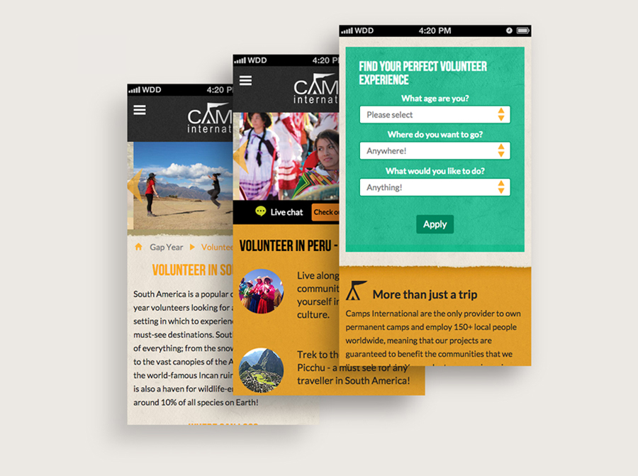 Camps International Website - Mobile View