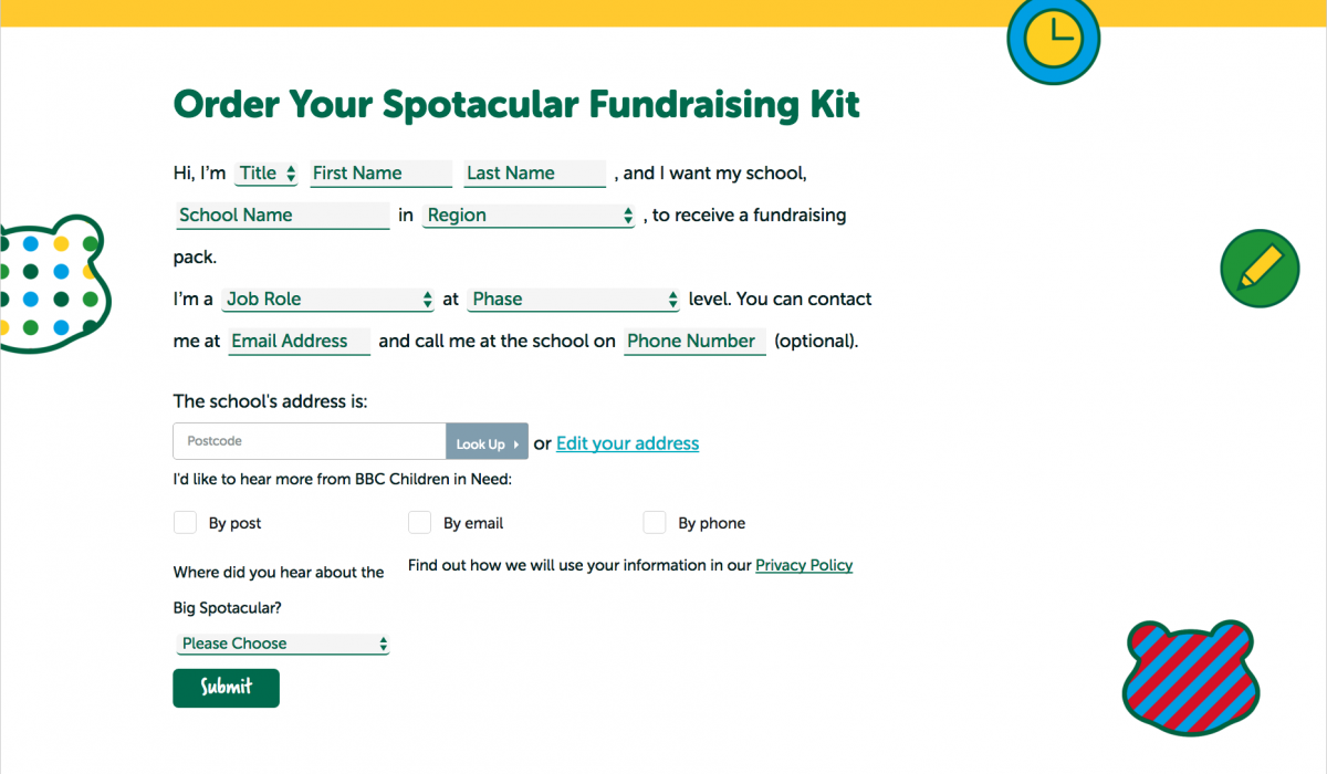 Screenshot Fundraising Form BBC Children In Need