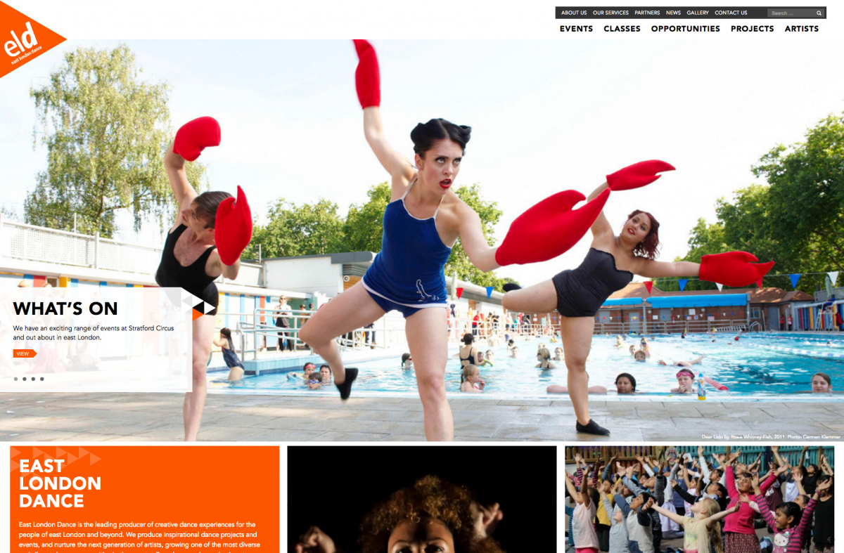 Homepage Screenshot East London Dance