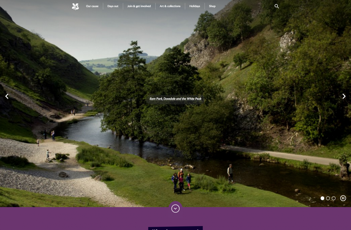 Screenshot of National Trust Website Homepage