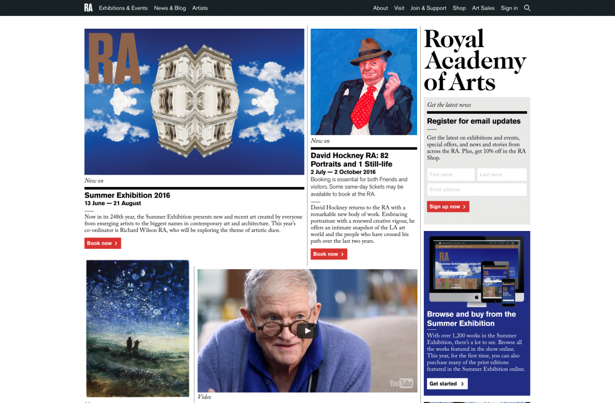 Screenshot of Royal Academy of Arts Homepage