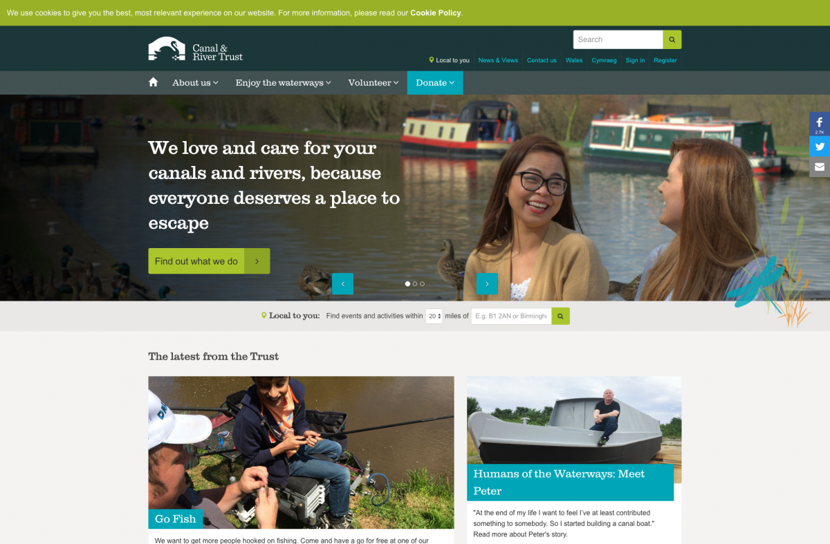 Homepage Screenshot Canal and River Trust
