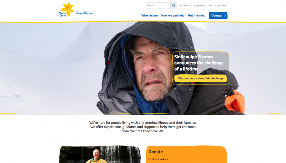 Marie Curie Homepage Screenshot