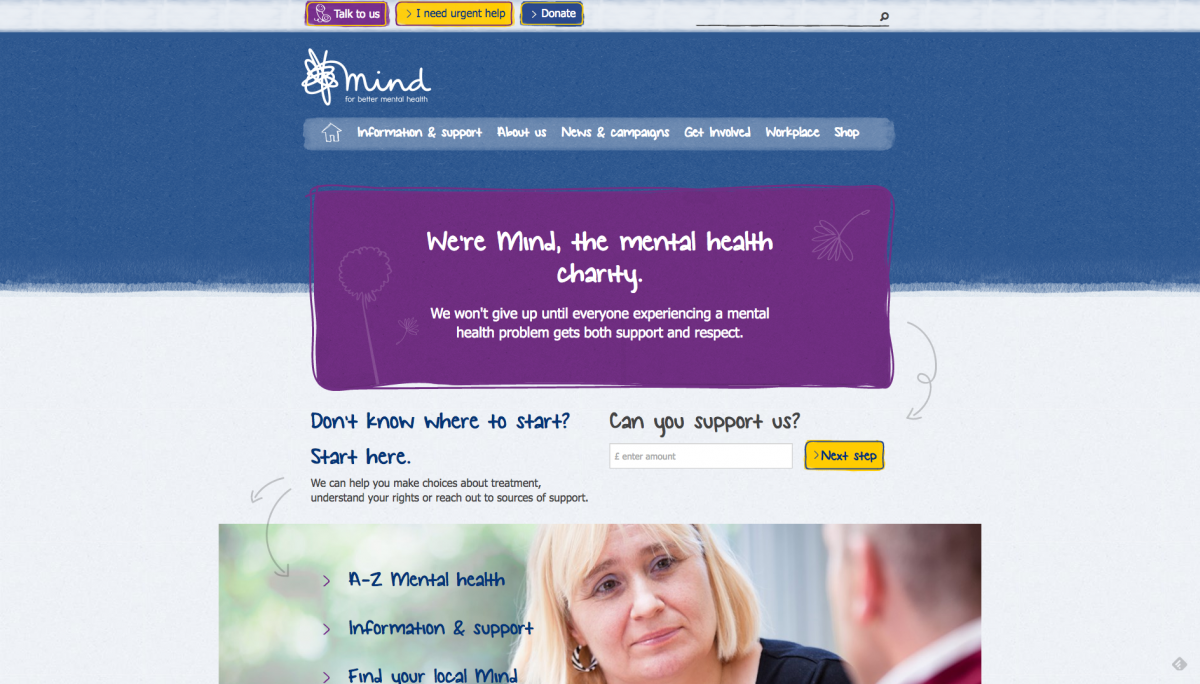 Screenshot of Mind Homepage