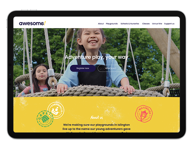 an ipad showing the Awesome adventure playground home page