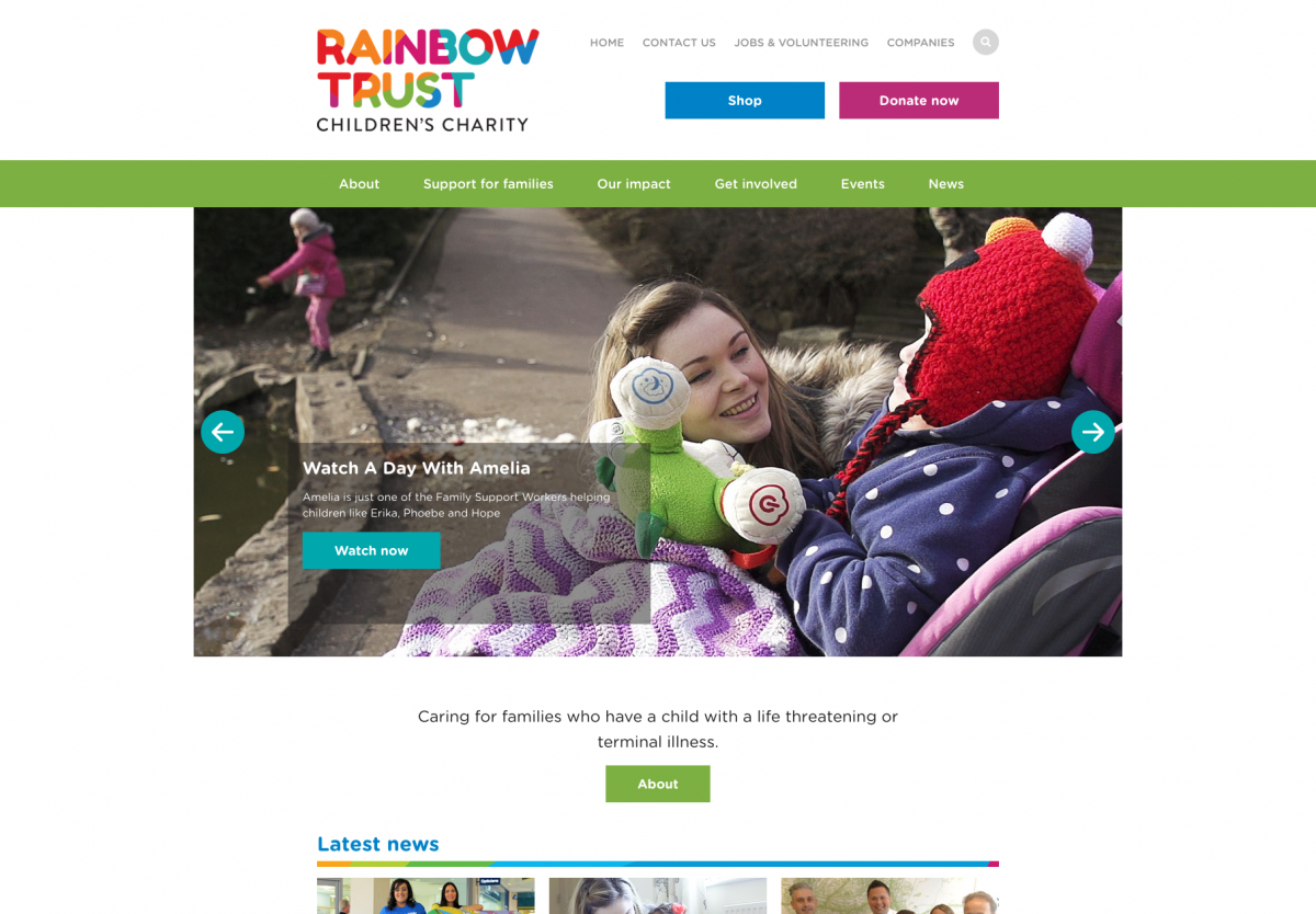 Screenshot of Rainbow Trust Homepage