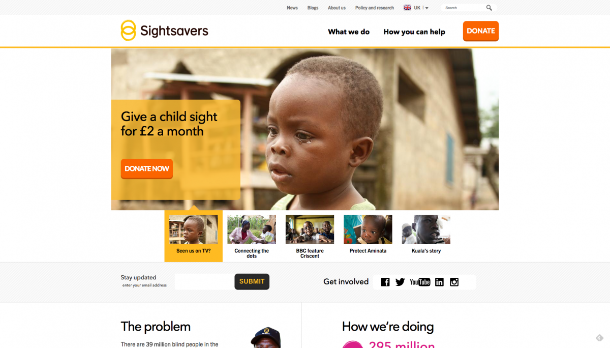 Screenshot of Sightsavers Homepage