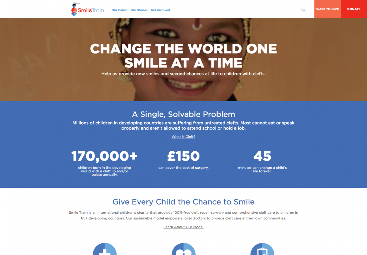 Smile Train Homepage Screenshot
