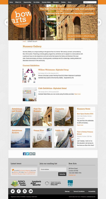 Bow Arts Website Design: Desktop