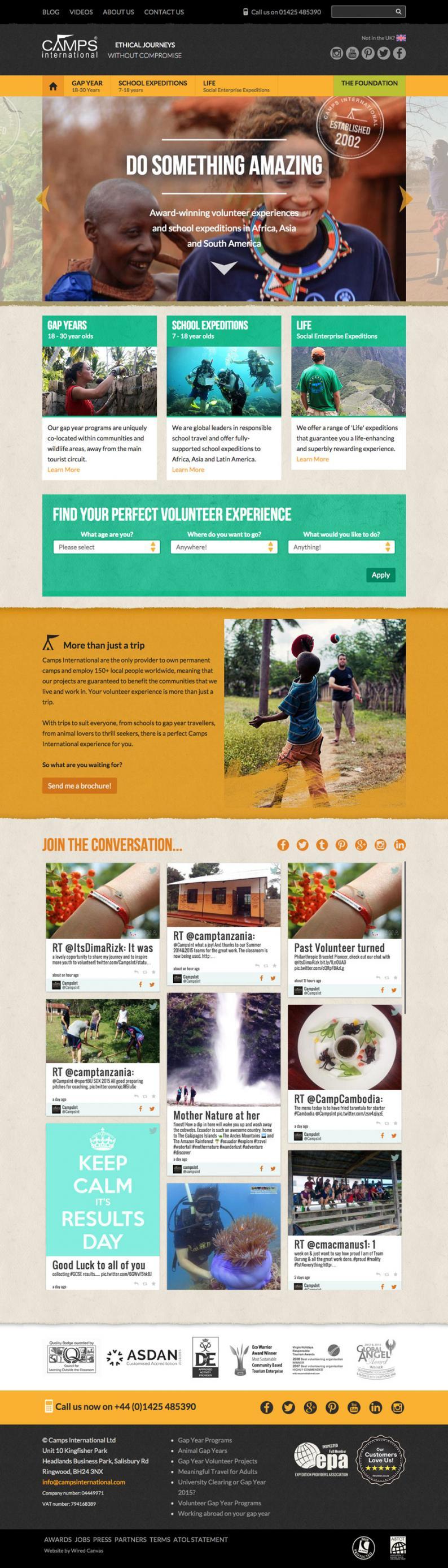 Camps International Website Desktop Design