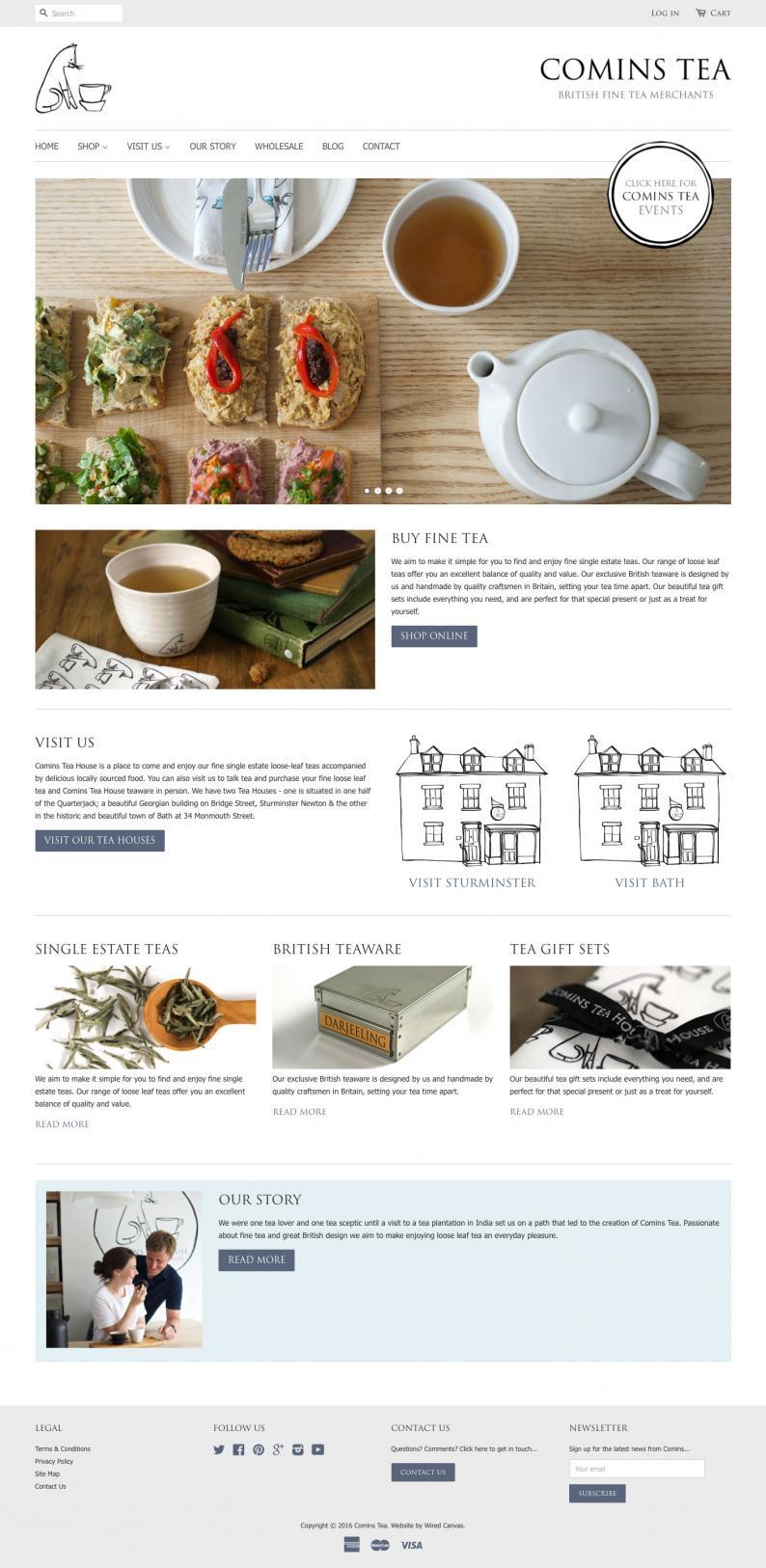 Comins Tea House Desktop Website Design