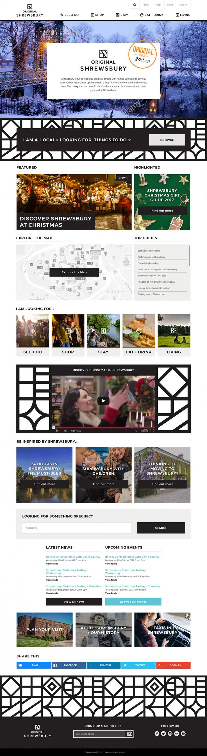 Original Shrewsbury Website Homepage - Desktop view