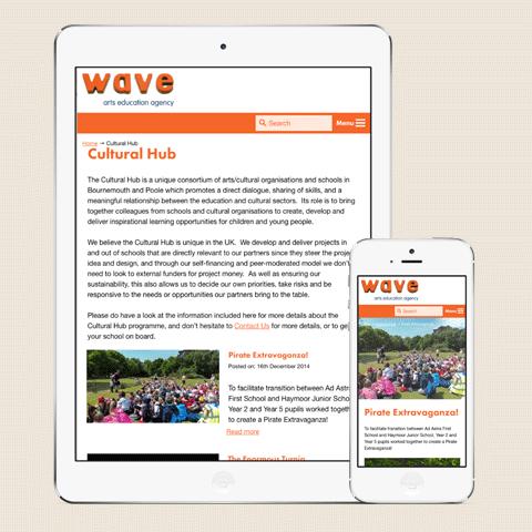 Wave Arts Website Tablet Design
