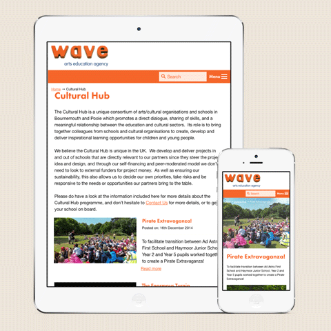 Wave Arts Website Tablet Design