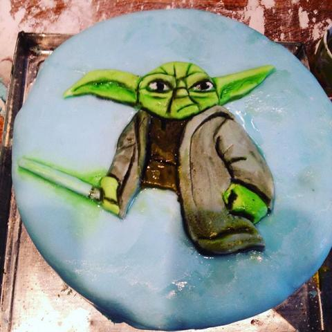 Picking up the brushes again. #yoda #birthdaycake #starwars