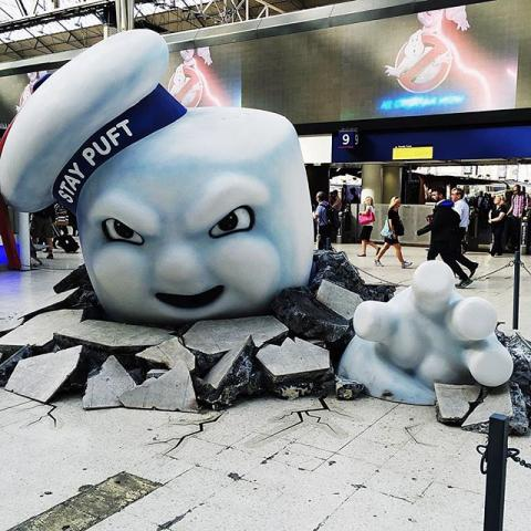 Obligatory #Ghostbusters shot from Waterloo. This thing actually scared the crap out of me when I got off the tube and was faced with this.