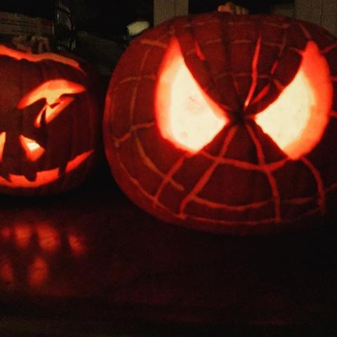 Happy Halloween!  #happyhalloween #spiderman #pumpkin