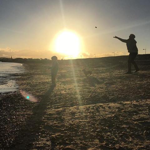 Beach. Sun. Dog. Barefoot. Grandparents.