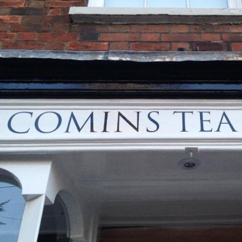 Comins Tea House Signage