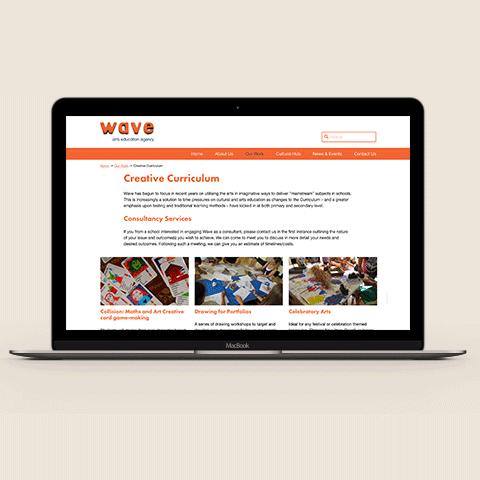 Wave Arts Website Desktop Design