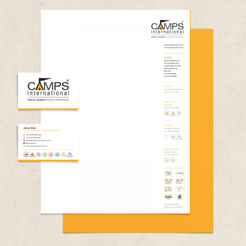 Camps International Print Stationery Design