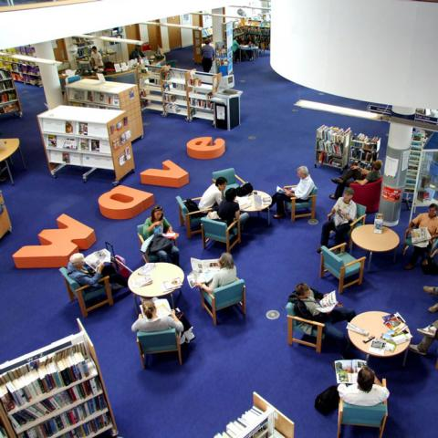 Wave Arts Education - Logo Branding in a Library