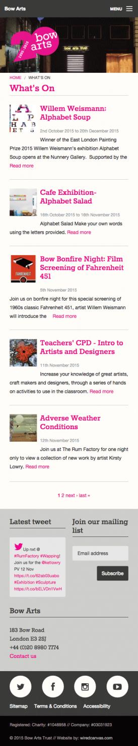 Bow Arts Website Design: Mobile