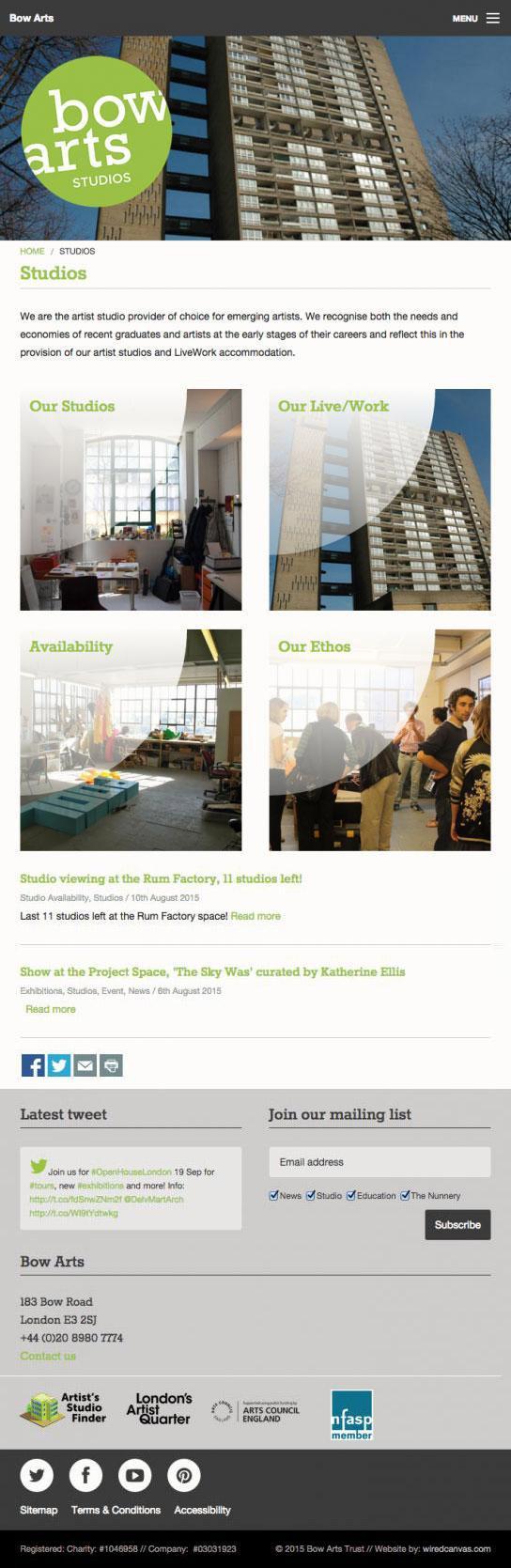 Bow Arts Website Design: Tablet