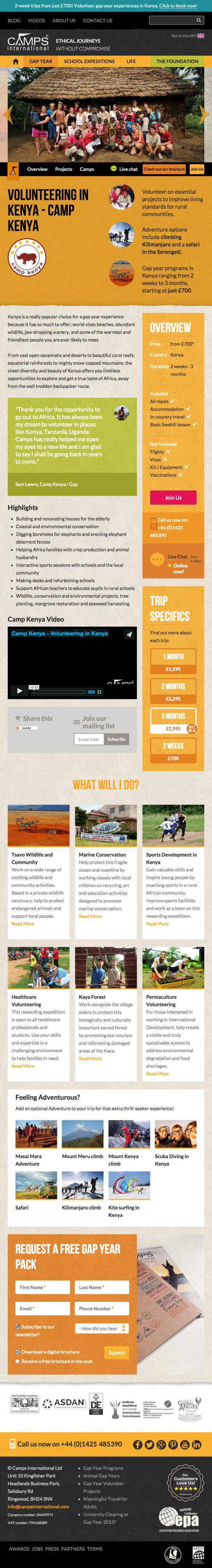 Camps International Website Tablet Design