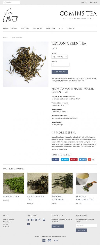 Comins Tea House Tablet Website Design