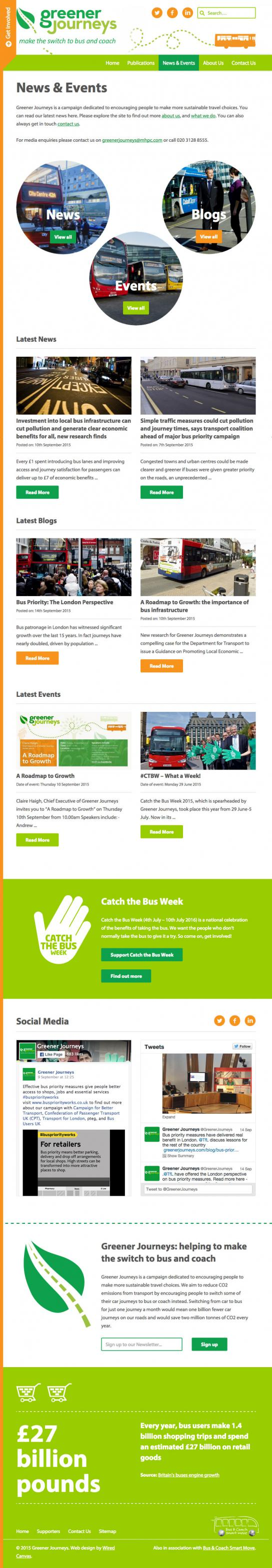 Greener Journeys Tablet Website Design