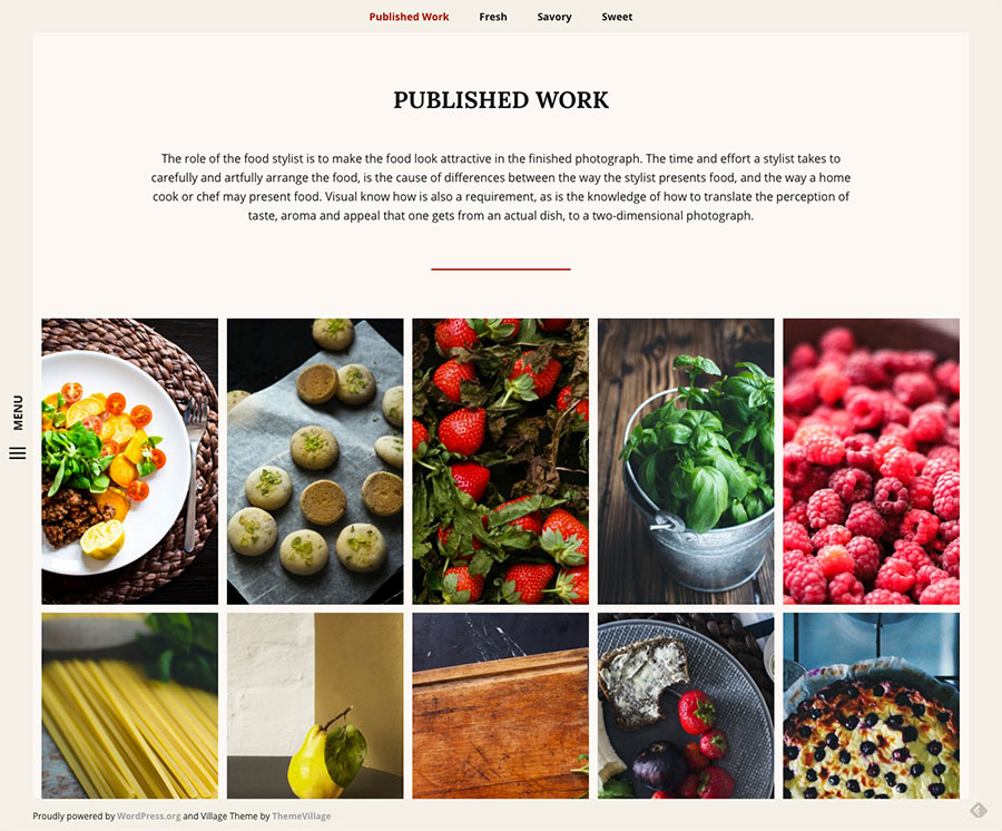 Wordpress Theme for Artists, Photographers and Painters